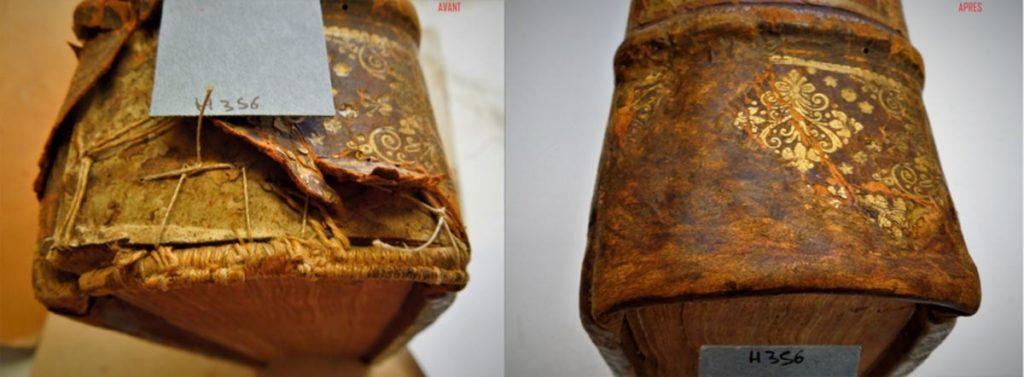 Restauration de cuir (avant/après)